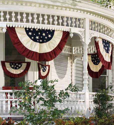 Large Half-Round Cotton Duck Patriotic Vintage Bunting with Embroidery