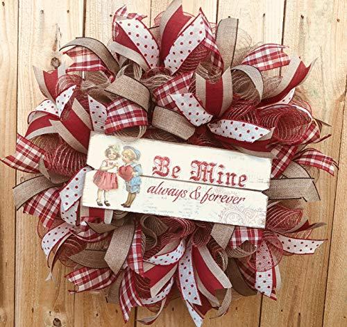Vintage Valentine Wreath Rustic | Door Hanger | Door Wall Decor | FREE Shipping | Burlap -
