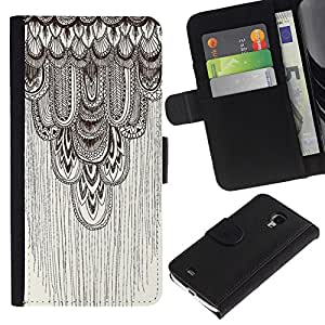Paccase / Billetera de Cuero Caso del tirón Titular de la tarjeta Carcasa Funda para - pencil drawing art beige pattern feather - Samsung Galaxy S4 Mini i9190 MINI VERSION!