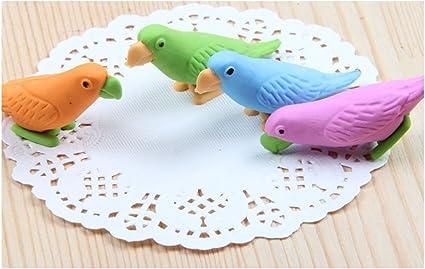 Cute Parrot borrador dibujos animados premios para la escuela Niños Papelería pájaros regalos lápiz Borradores de arcilla 5pcs/pack: Amazon.es: Oficina y papelería