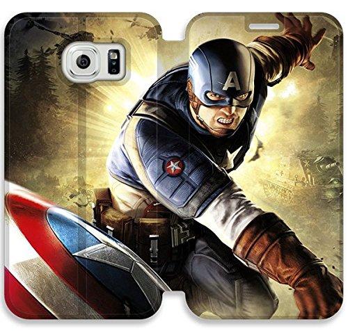 Funda Samsung Galaxy S6 Edge Funda de cuero [Buen regalo bonito regalo] [Captain America Super So Veh] [Card/Cash Slots] Protectora caja del teléfono para Samsung Galaxy S6 Edge K5B3QI