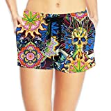 Psychedelic & Marijuana Women's Popular Elastic Waist Shorts Breathable Lightweight Beach Shorts