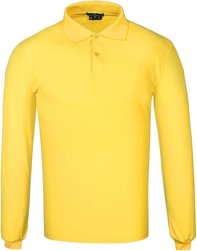 DONNAY Hombre Camiseta Polo Manga Larga De Algodón Amarillo S ...