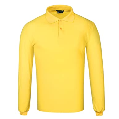 DONNAY Hombre Camiseta Polo Manga Larga De Algodón Amarillo L ...