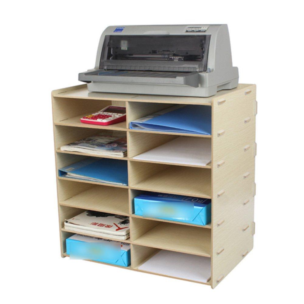 ANHPI-bookcase Librería Doble Fila De 12 Bandejas Archivador De Múltiples Capas De Madera Soporte para Datos Bandeja De Impresora para Suministros De ...