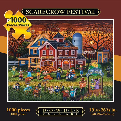 Jigsaw Puzzle - Scarecrow Festival 1000 Pc By Dowdle Folk (Halloween Van Gogh)