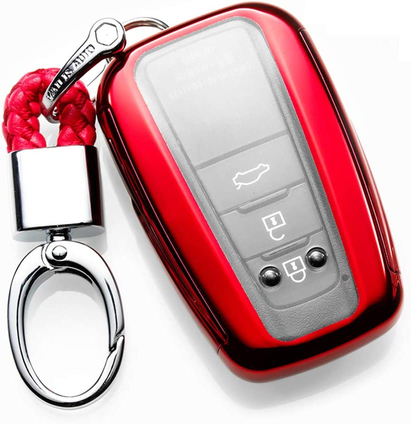 ontto TPU Key Fob Cover Shell Full Protection Remote Control Smart Key Case Holder Jacket Skin Keyless Fit for 2018 Toyota Camry C-HR Prius Red