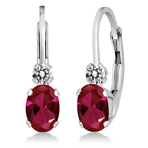 Gem Stone King 1.07 Ct Oval Red Created Ruby White Diamond 14K White Gold Earrings