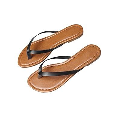 4a3ac2ad86d0 Amazon.com  Seraih Womens Summer Slippers Black Flip Flops Thong Sandals   Clothing