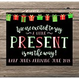 Christmas Pregnancy Announcement Poster Sign by Katie Doodle - Customizable