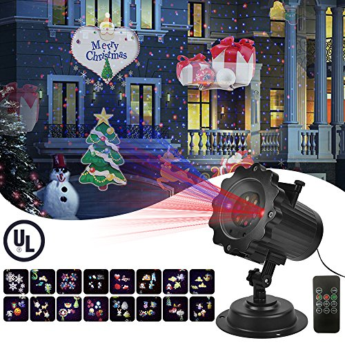 PinPle Projector Lights Garden Laser Light with 16 Patterns Moving Blue and Red Motion Outdoor & Indoor Laser Lights Projector with UL Certification for Christmas Halloween Wedding Holiday Garden Lawn