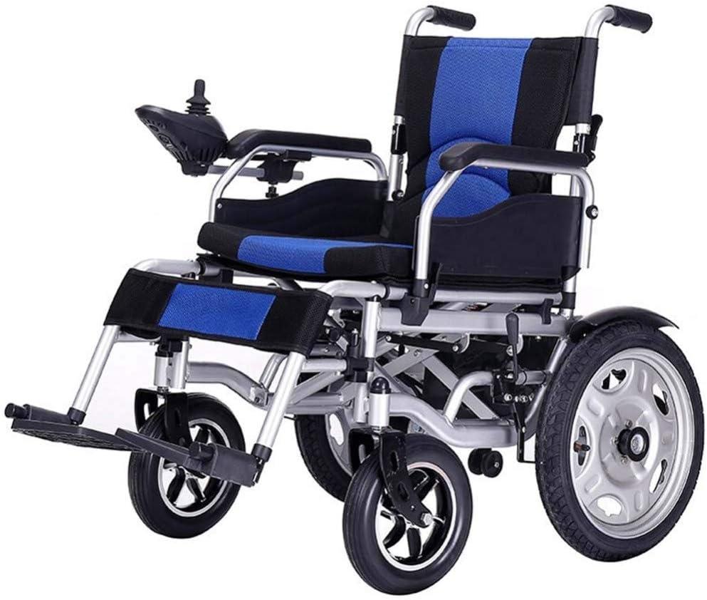 DGPOAD Chair Silla De Ruedas Inteligente Silla De Ruedas Eléctrica Power Plegable Wheelchair Ligera De La Aleación De Aluminio Silla,conduzca con Potencia O Use como Silla De Ruedas Manual/Blue
