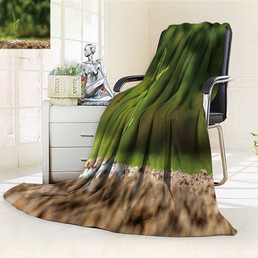 300 GSM Fleece Blanket plant seedling growing on fertile soil with fertilizer baby plant Super Soft Warm Fuzzy Lightweight Bed or Couch Blanket(90''x 70'')