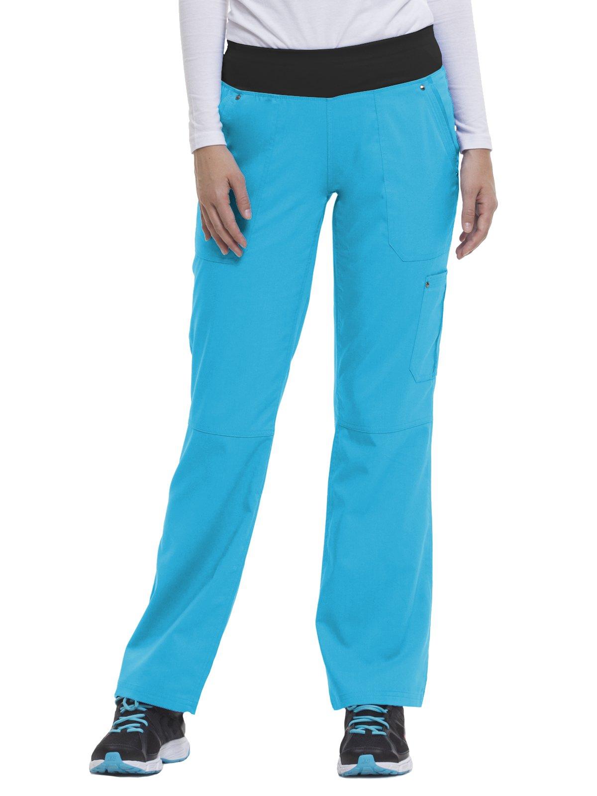 Purple Label by Healing Hands Scrubs Women's Tori 9133 5 Pocket Knit Waist Pant Turquoise- Small Tall