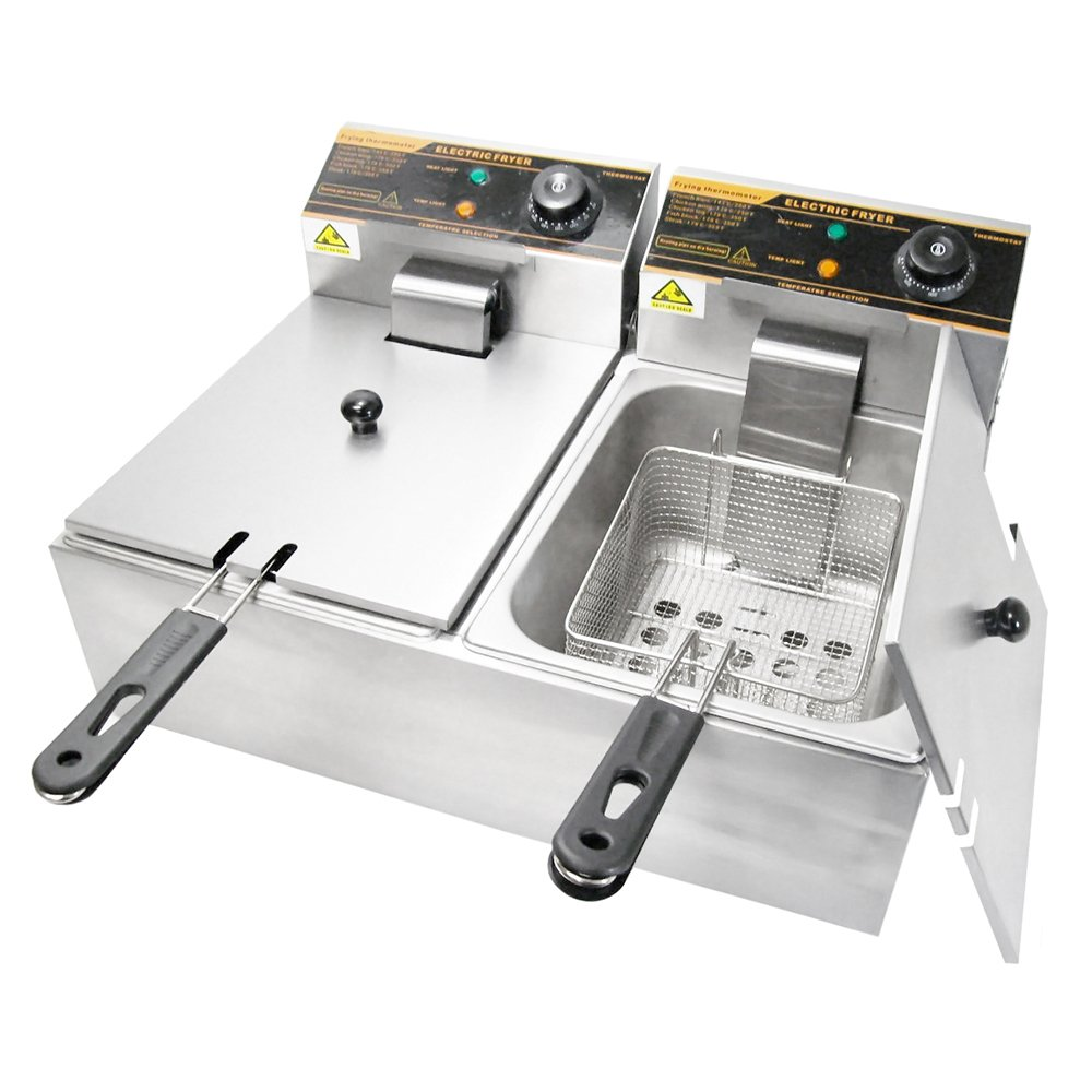 WYZworks - 5000W 12 Liter Stainless Steel Electric Countertop Dual Deep Fryer - Home Restaurant Commercial …