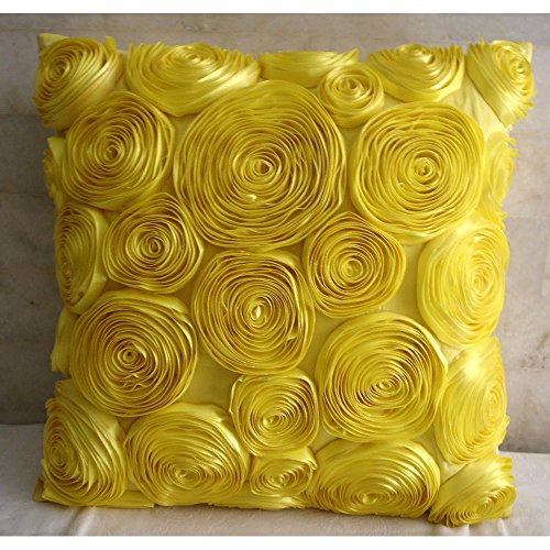 The HomeCentric Designer 12x12 inches Pillow Covers Yellow, Modern Floral Pillow Cases, Art Silk Square Throw Pillow Covers, Ribbon Yellow Rose Flower Pillows Cover - Sun ()