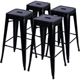Furmax 30'' High Metal Stools Backless Indoor/Outdoor Use Stackable Bar Stools Black (4 pack)