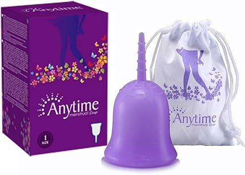 ANYTIME Copa de menstruación, 100% segura Silicona de grado médico / Copa menstrual reutilizable premium / Copa de menstruación recomendada ...