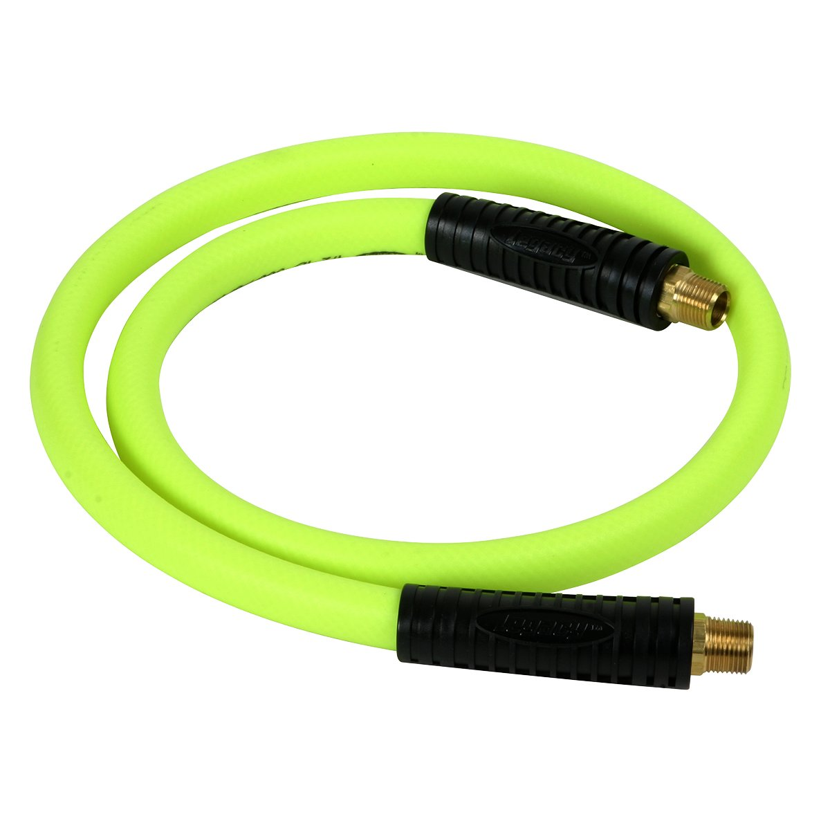 Flexzilla Swivel Whip Air Hose, 1/2 in. x 4 ft. (3/8 in. MNPT Swivel x 3/8 in. MNPT Ends), Heavy Duty, Lightweight, Hybrid, ZillaGreen - HFZ1204YW3S