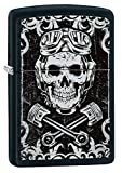 Zippo Black & White Skull Design Pocket Lighter, Black Matte