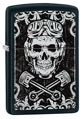 Zippo Black & White Skull Design Pocket Lighter, Black - Zippo Sunglasses