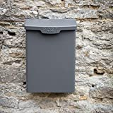 Letterbox Mailbox Post Box Wall Mounted Lockable - by CKB LTD Secure Mail Storage Produced in Powder Coated Steel Metal Outdoor External Vintage | for Envelopes 39.5 x 28.6 x 17.5cm (Charcoal)