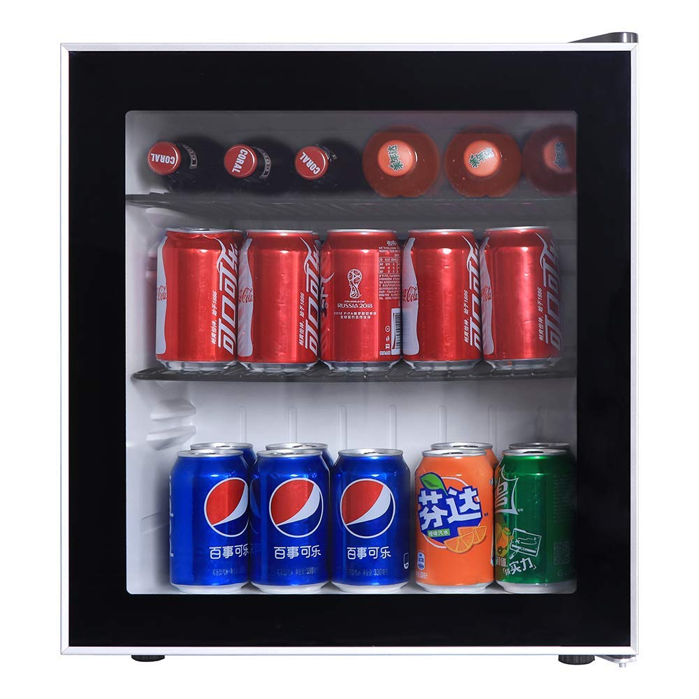 Beverage Cooler and Fridge With Glass Reversible Door, 60 Can Beverage Mini Fridge, Adjustable Shelves Dispenser Countertop Refrigerator Cellars, Perfect for Soda Beer or Small Drink
