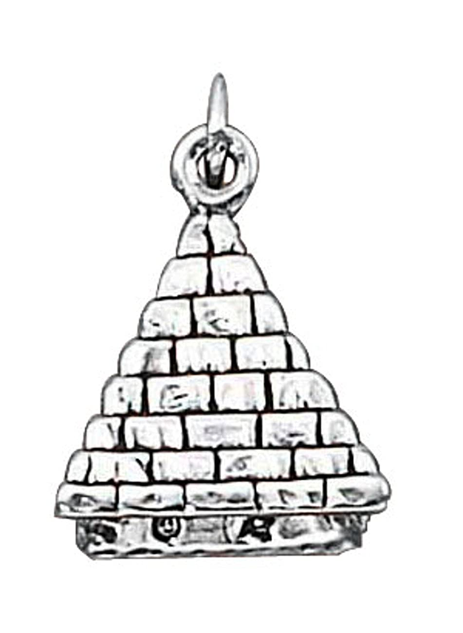 Sterling Silver Girls .8mm Box Chain 3D Egyptian Pyramid Pendant Necklace