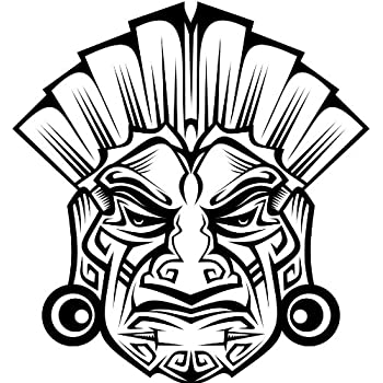 aztec mask coloring pages | Amazon.com: DETAILED ANCIENT TRIBAL MASK AZTEC MAYAN WHITE ...