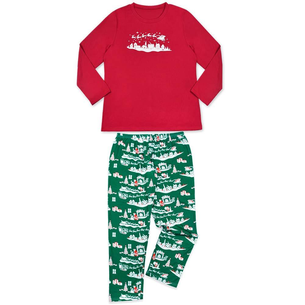 K-youth Ropa de Casa Familia Invierno Conjunto de Pijamas Familiares Unisexo Elk Pijamas de Navidad Familiares Ropa de Dormir Padre Hijo Manga Larga Tops y Pantalones Largos