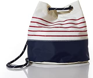 product image for Sea Bags Recycled Sail Cloth Red Mariner Stripe Convertible Bucket Bag