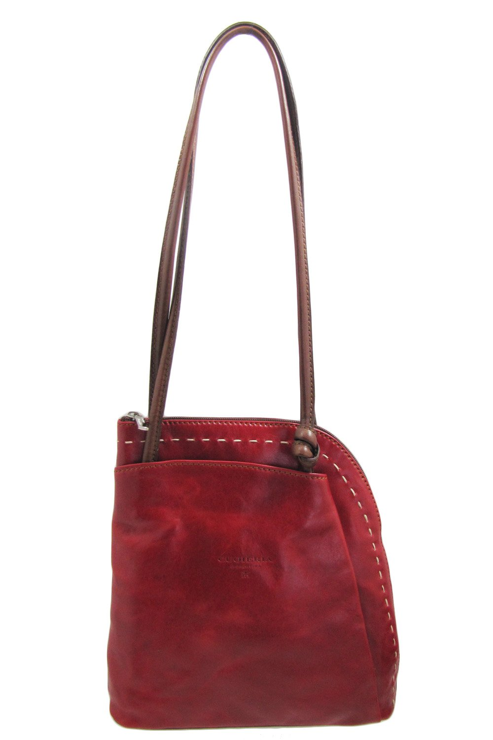 Cuoieria Fiorentina Italian Leather Convertible Shoulder Backpack Handbag (Red) by Cuoieria Fiorentina