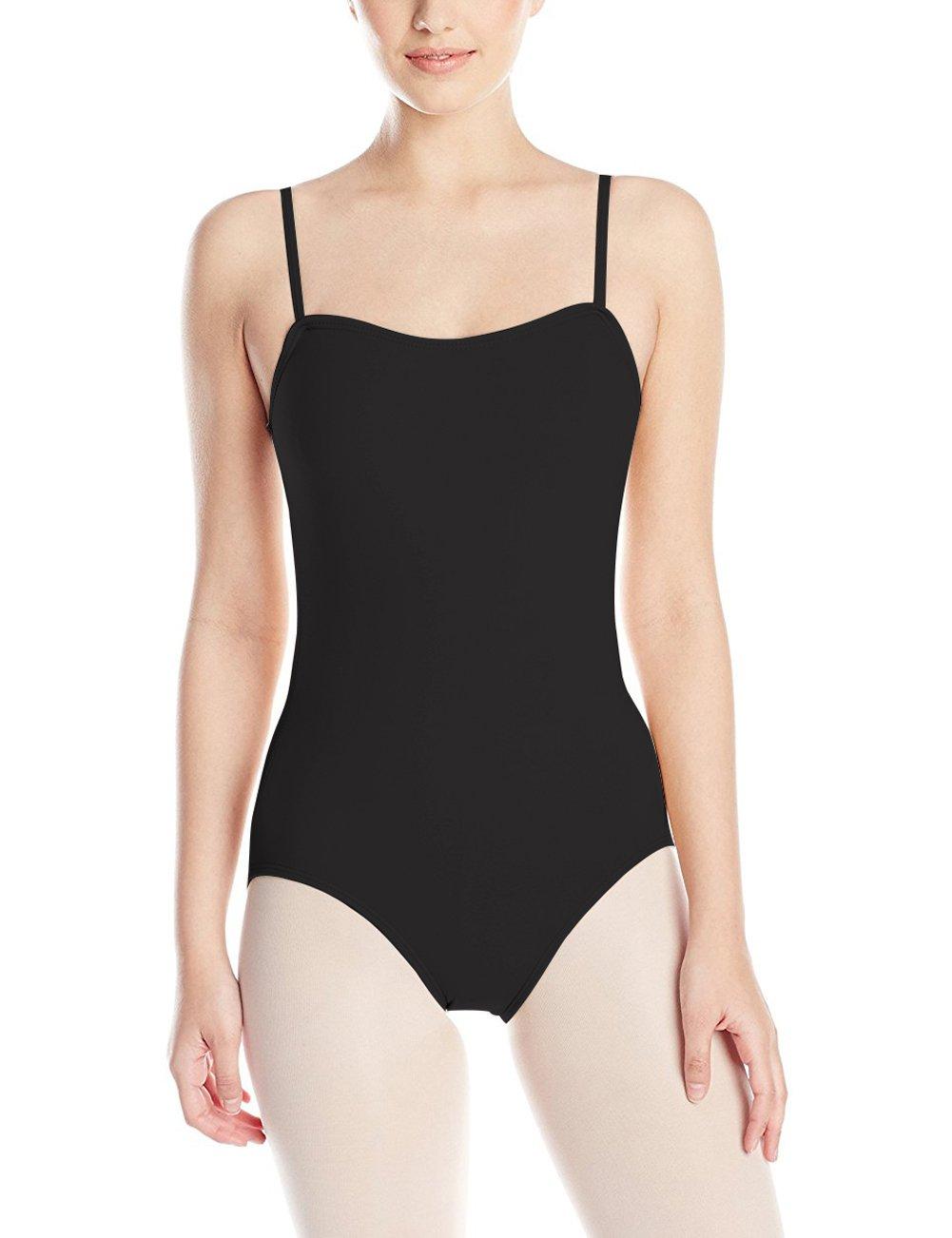 FAIMILORY Women's Basic Solid Scoop Neck Bodysuit Stretch Leotard (S, Adjustable Straps Black) by FAIMILORY