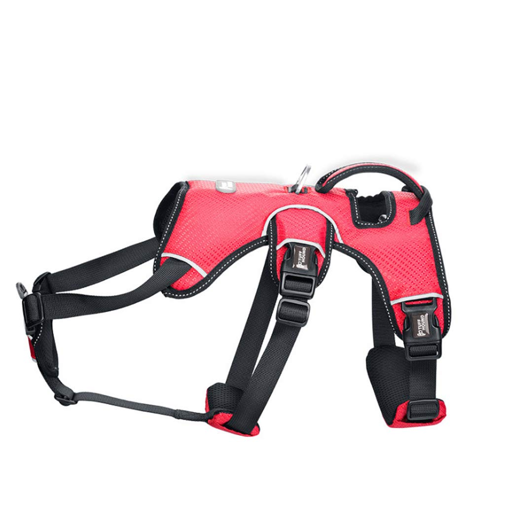 RED M RED M Dog Chest Strap with Traction Rope Medium-Sized Large Dog pet Dog Chain Hyena Rope Collar Reflective Breathable (color   RED, Size   M)