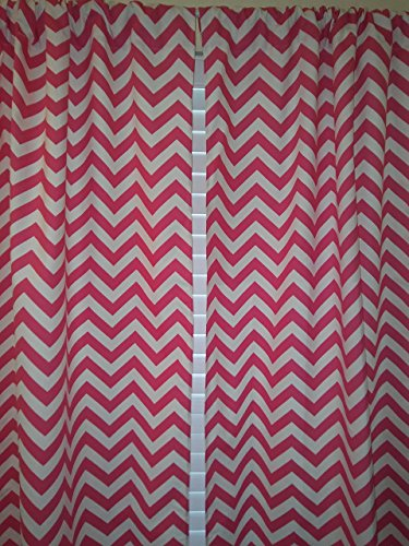 "Hot Pink Chevron Valance Curtain, Girl Nursery curtain - 2 panels/ Tiers - Window /Valance Curtain Baby Girl Nursery Window Decor kids , Kitchen cafe curtains 62""L , 3"" rod"