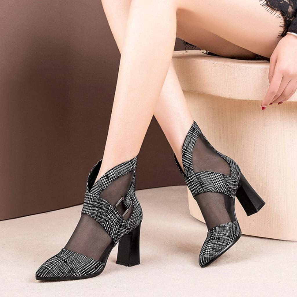 DCYU Mesh High Heel Womens Hollow Baotou Thick Heel Sandals Color : Black, Size : 8.0 US