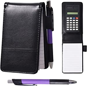 Lemical A7 Leather Cover Journal Notebook with Calculator Working Small Notebook Memo Notepad with Pen Pad Holder Set Multi Function Soft Cover Notebook for Office Working Study