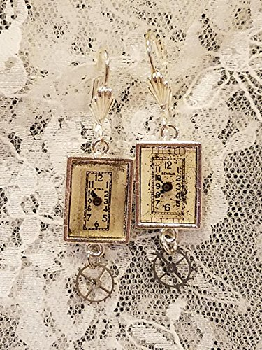 Steampunk Vintage Watchface Silvertone Dangle Earrings ()
