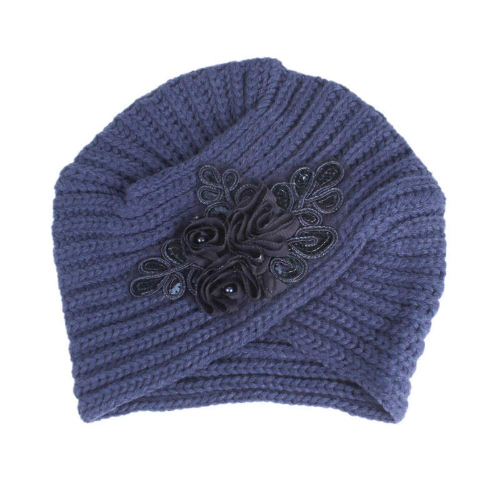 BAGFP Autumn and Winter New Sequins Flower Wool Cross Scarf Hat Indian Wind Ladies Hat