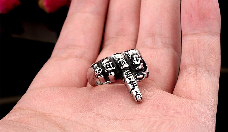 PAMTIER Men\'s Biker Middle Finger Up Stainless Steel Ring Punk Rock ...