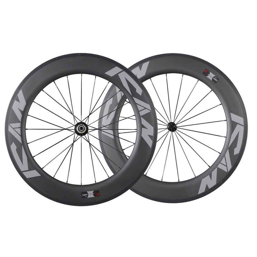 ICAN 86mm Tubular Triathlons/Road Bike Carbon Wheelset Basalt Brake Surface 20/24 Holes 1700g