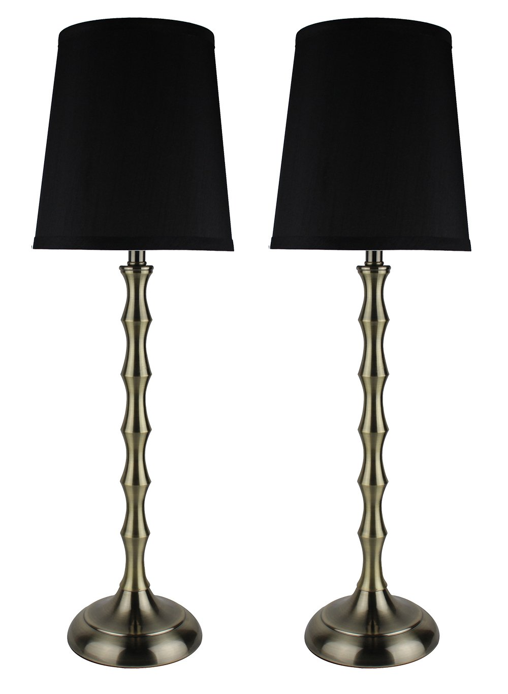 Urbanest Set Of 2 Antique Brass Bahama Bamboo Buffet Lamps With