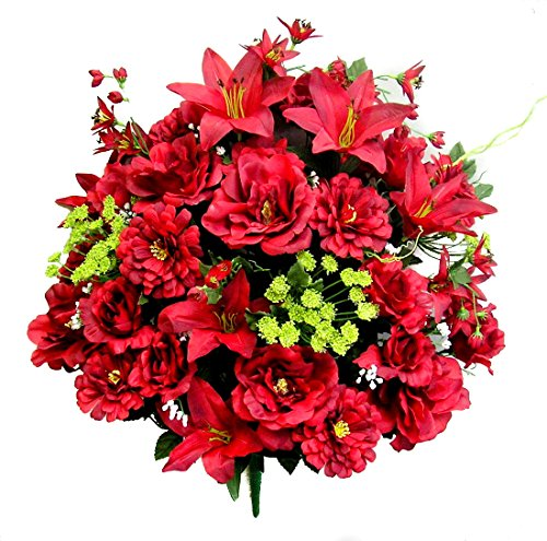 Admired By Nature 40 Stems Artificial Rose, Lily, Zinnia, Queen Anne's Lace Mixed Flower Bush with Greenery for Home, Wedding, Restaurant & office Decoration Arrangement, Burgundy