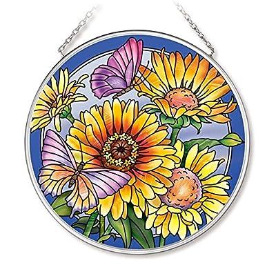 Amia Daisies & Butterflies Glass Circle Suncatcher: Home & Kitchen