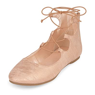 The Childrens Place Girls BG LACE-UP Avery Ballet Flat Rose Gold Youth 1