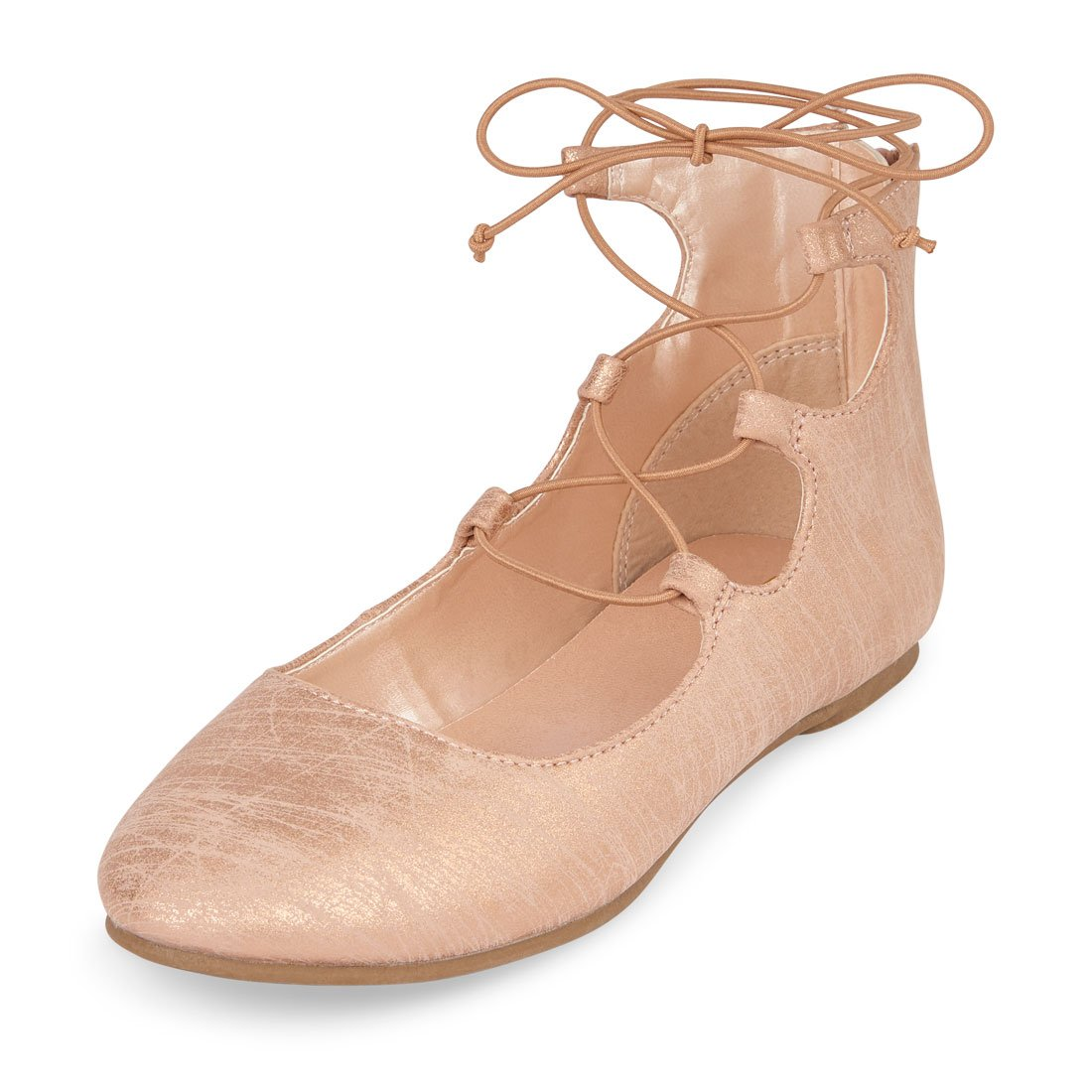 The Children's Place Girls' BG Lace-up Avery Ballet Flat, Rose Gold, Youth 1 Youth US Big Kid