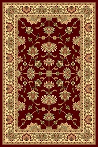 Rugs America Round New Vision Area Rug, 5-Feet 3-Inch, Kashan Cherry - Kashan Red Rug