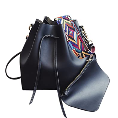08c8b4a49ee3 Image Unavailable. Image not available for. Color  Women s PU Leather  Drawstring Bucket Bag Crossbody Bag Shoulder Bag Purse ...