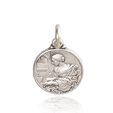 Silver medal of saint cecilia locket pendant medallion silver medal of saint cecilia locket pendant medallion silvermedallion 925 19 aloadofball Image collections