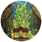 Round Rug Mat Carpet,Natural Cave Decorations,Latent Pavilion in Between the Cliffs Discovery of Faith in the Nature Art Picture,Multi,Flannel Microfiber Non-slip Soft Absorbent,for Kitchen Floor Bath